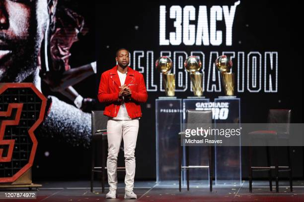 Former Miami Heat player Dwyane Wade addresses the crowd during the Miami Heat Dwyane Wade L3GACY Celebration at American Airlines Arena on February...