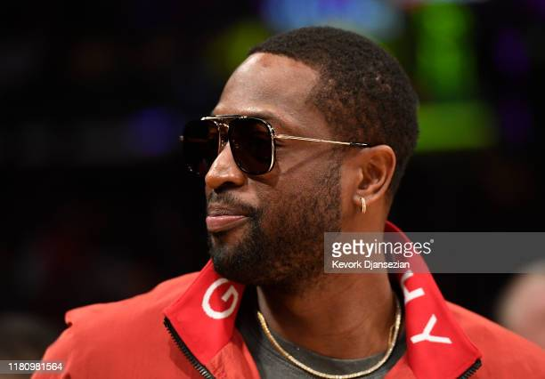 Former Miami Heat player Dwyane Wade attends the game between the Miami Heat and Los Angeles Lakers at Staples Center on November 8, 2019 in Los...