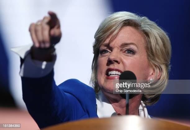 Former Michigan Gov Jennifer Granholm speaks on stage during the final day of the Democratic National Convention at Time Warner Cable Arena on...