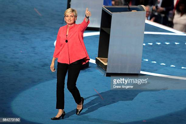 Former Michigan Governor Jennifer Granholm gives a thumbsup after delivering her remarks on the fourth day of the Democratic National Convention at...