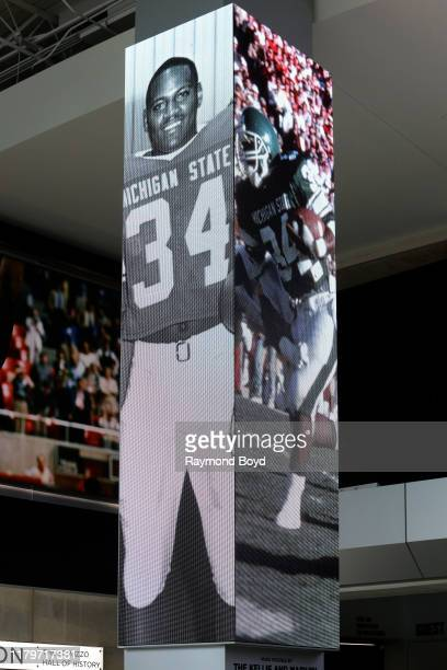 Former Michigan State football player Lorenzo White banner displayed in the Tom Izzo 'Basketball Hall Of History' inside Gilbert Pavilion, home of...