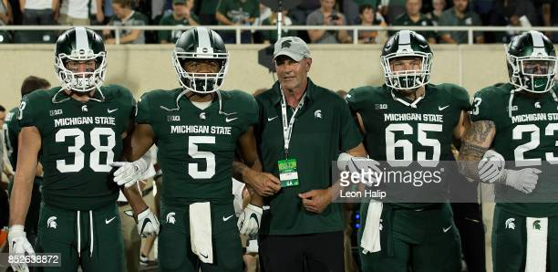 Former Michigan State Spartans Kirk Gibson was the honorary captain during the game against the Notre Dame Fighting Irish at Spartan Stadium on...