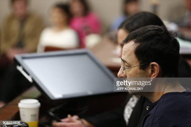 Former Michigan State University and USA Gymnastics doctor Larry Nassar gives an impact statement during the sentencing phase in Ingham County...