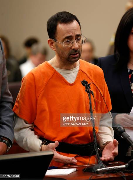 Former Michigan State University and USA Gymnastics doctor Larry Nassar appears at Ingham County Circuit Court on November 22 2017 in Lansing...