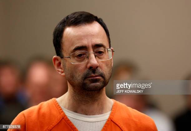 TOPSHOT Former Michigan State University and USA Gymnastics doctor Larry Nassar appears at Ingham County Circuit Court on November 22 2017 in Lansing...