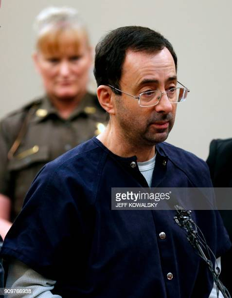 Former Michigan State University and USA Gymnastics doctor Larry Nassar addresses the court during the sentencing phase in Ingham County Circuit...