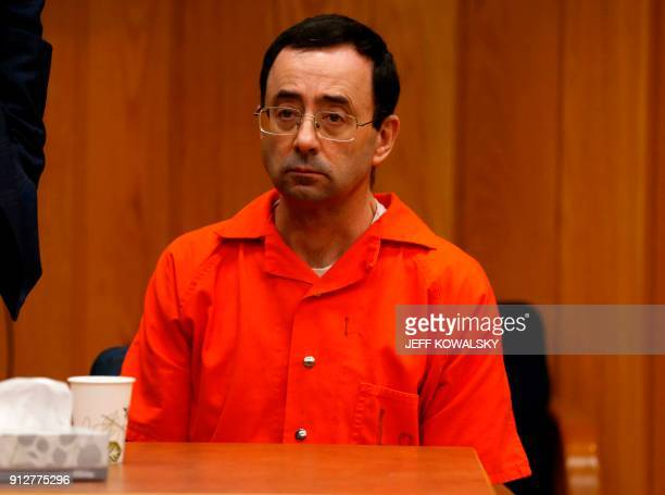 Former Michigan State University and USA Gymnastics doctor Larry Nassar listens during the sentencing phase in Eaton County Circuit Court on January...