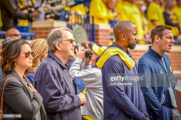Former Michigan Wolverines and NFL star Charles Woodson and former Head Coach Lloyd Carr prior to the Michigan Wolverines versus Nebraska Cornhuskers...