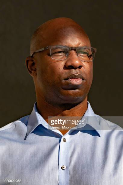 Former middle school principal Jamaal Bowman poses outside a subway station on June 17 2020 in the Bronx borough of New York City Bowman is...