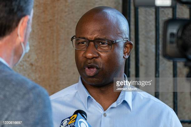 Former middle school principal Jamaal Bowman speaks during an interview with a reporter outside a subway station on June 17 2020 in the Bronx borough...