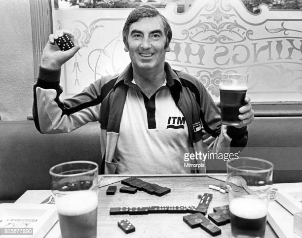 Former Middlesbrough FC chairman Alf Duffield playing dominoes and enjoying a drink in a pub 3rd February 1984