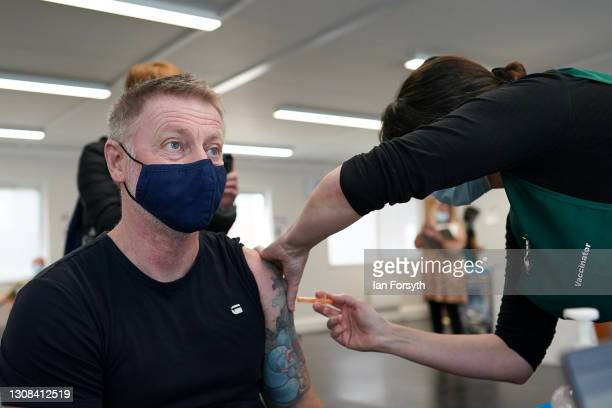 Former Middlesbrough Football Club player, Craig Hignett, receives his AstraZeneca/Oxford University Covid-19 vaccine at the Riverside Stadium...
