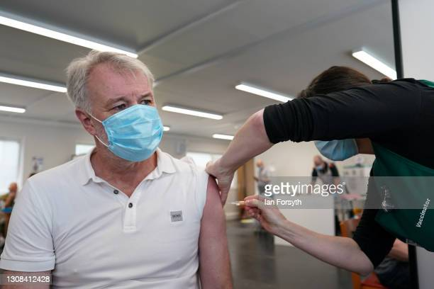 Former Middlesbrough Football Club player, Gary Pallister, receives his AstraZeneca/Oxford University Covid-19 vaccine at the Riverside Stadium...