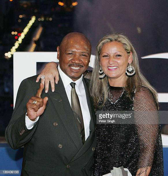 Former middleweight champion Marvelous Marvin Hagler and wife attend the Laureus World Sports Awards dinner at the Parc del Forum May 21 2006