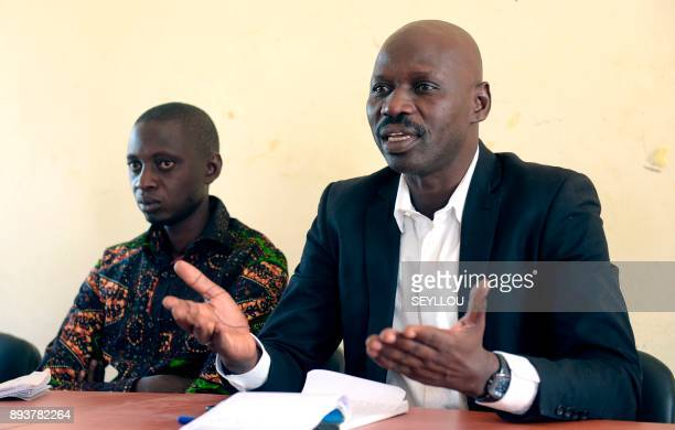 Former migrants to Italy Deputy Mayor of Nganda Babacar Mbaye and local municipal councilor and head of a rice producers' association Pape Samba...