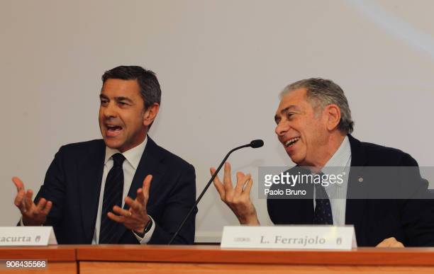 Former Milan player Alessandro Costacurta and Luigi Ferrajolo president of USSI and Andrea reacts during the Italian Football Federation and USSI...