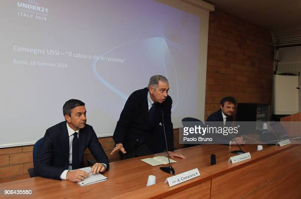 Former Milan player Alessandro Costacurta Luigi Ferrajolo president of USSI and Andrea Stefani attend the Italian Football Federation and USSI...