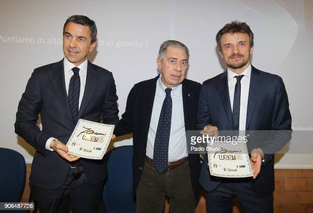 Former Milan player Alessandro Costacurta Luigi Ferrajolo president of USSI and Andrea Stefani pose during the Italian Football Federation and USSI...