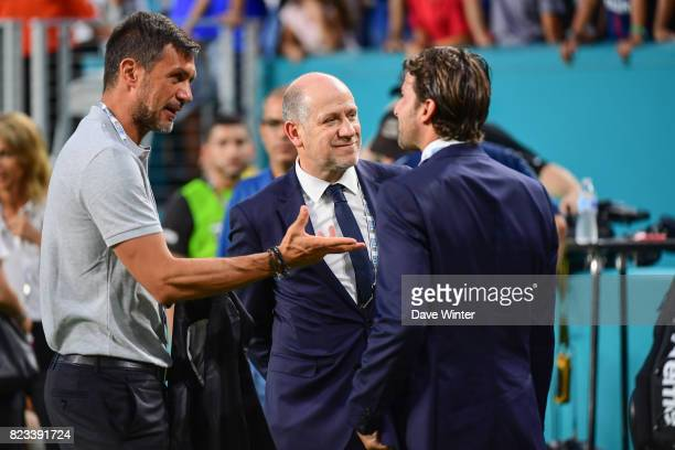 Former Milan player Paolo Maldini now coowner of North American Soccer League club Miami FC PSG sporting director Antero Henrique and former player...