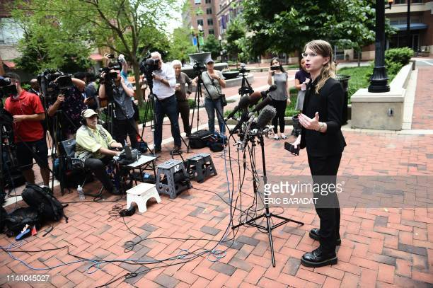 Former military intelligence analyst Chelsea Manning speaks to the press ahead of a Grand Jury appearance about WikiLeaks, in Alexandria, Virginia,...