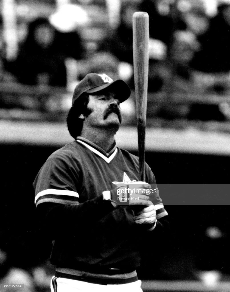 Denver post archives pictures getty images former milwaukee brewer slugger k gorman thomas checks for a hole in his bat as he aiddatafo Image collections
