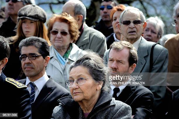 Former minister and European Parliament president and academician Simone Veil attends on April 6 2010 at the Izieu children�s memorial museum a...