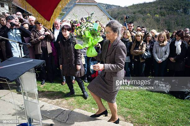 Former minister and European Parliament president and academician Simone Veil prepares to lay down flowers on April 6 2010 at the Izieu children�s...