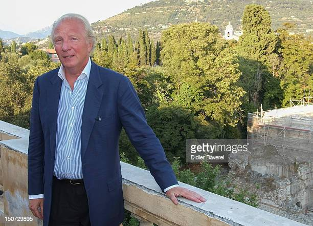 Former minister and President of the Association Brice Hortefeux poses in front of the Gardens of Cimiez on August 24 2012 in Nice France