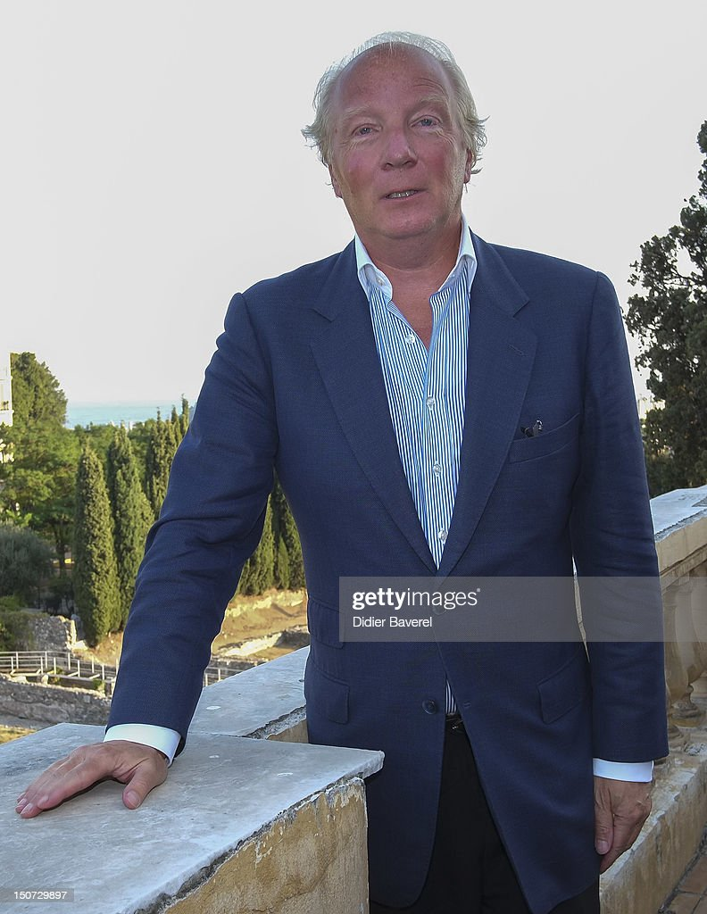 Former minister and President of the Association Brice Hortefeux poses in front of the Gardens of Cimiez on August 24, 2012 in Nice, France.