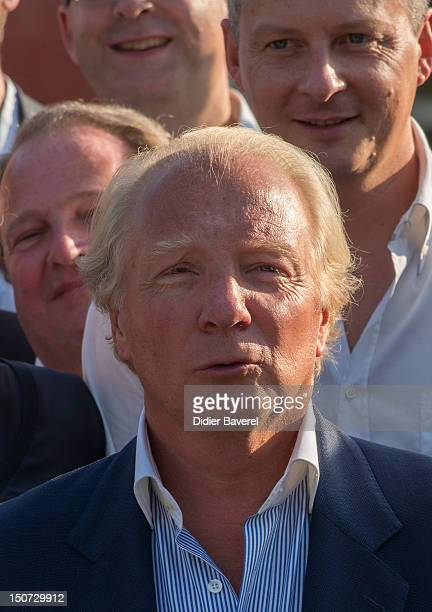 Former minister and President of the Association Brice Hortefeux poses in the Gardens of Cimiez on August 24 2012 in Nice France