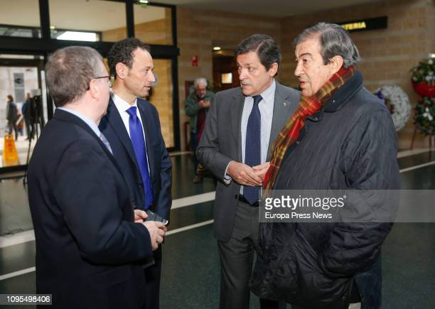 Former minister Francisco Alvarez Cascos the president of Asturias Javier Fernandez and the counsellor of the Presidencia and Participacion Ciudadana...