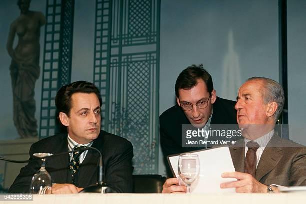 Former Minister of Budget and government's spokesman Nicolas Sarkozy Former Prime Minister Edouard Balladur and his chief of staff Nicolas Bazire...