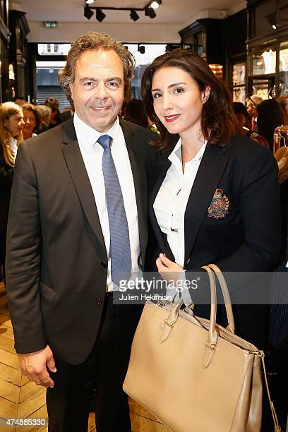 Former minister of Education Luc Chatel and his wife attend the 'Ines De La Fressange' Boutique Opening on May 27 2015 in Paris France