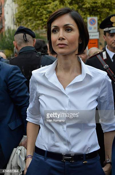 Former Minister of Equal Opportunities Mara Carfagna attends the arrival of Forza Italia president Silvio Berlusconi for his visit to Salerno in...