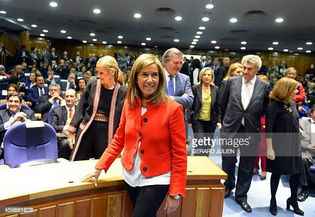 Former Minister of Health Social Services and Equality Ana Mato looks on during the oathtaking ceremony of new Spanish Health Social Services and...