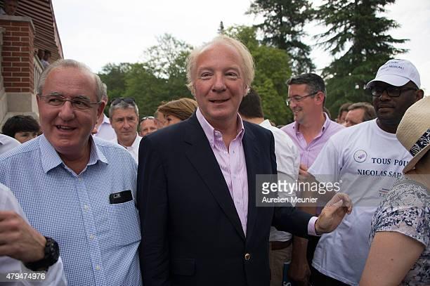 Former Minister of Interior Brice Hortefeux arrives at La Fete de la Violette on July 4 2015 in La FerteImbault France The political meeting...