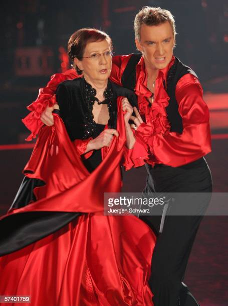 Former Minister President of SchleswigHolstein Heide Simonis performs with dancer Hendrik Hofken at the dancing competition show on TV station RTL...