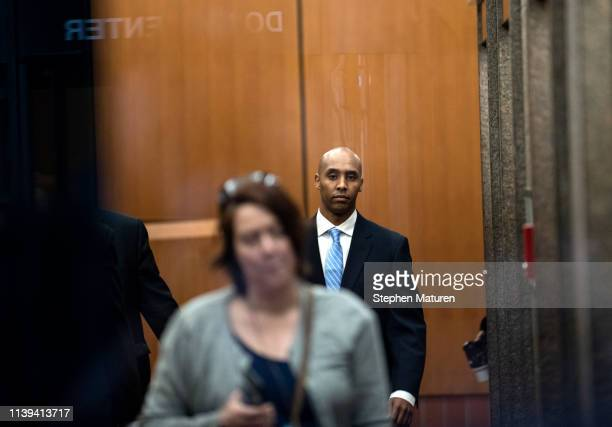 Former Minneapolis police officer Mohamed Noor arrives at the Hennepin County Government Center on April 26 2019 in Minneapolis Minnesota Noor is...