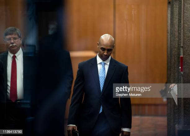 Former Minneapolis police officer Mohamed Noor arrives with his legal team at the Hennepin County Government Center on April 26 2019 in Minneapolis...