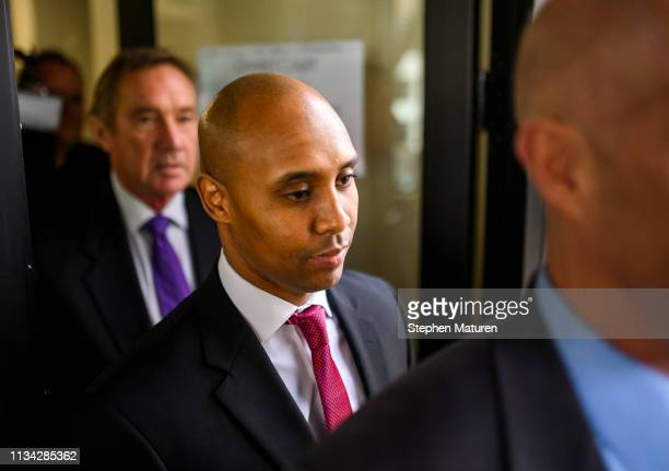 Former Minneapolis Police officer Mohamed Noor leaves the Hennepin County Government Center during a break from his trial on April 1 2019 in...