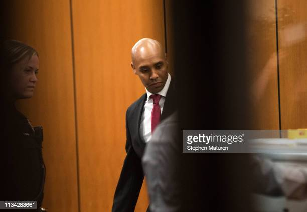 Former Minneapolis Police officer Mohamed Noor passes through security as he arrives for the beginning of his trial on April 1 2019 in Minneapolis...