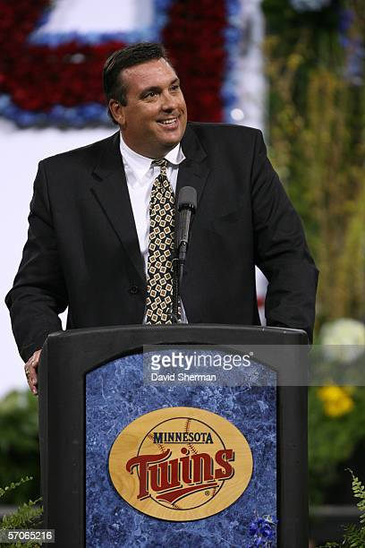 Former Minnesota Twin Kent Hrbek speaks at the public memorial service for Kirby Puckett at the Hubert H Humphrey Metrodome on March 12 2006 in...