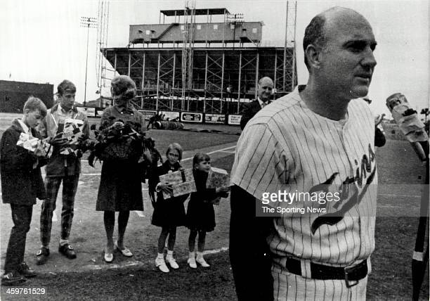 Former Minnesota Twins player Harmon Killebrew speaks on Killebrew Day on March 22 1970 at Tinker Field in Orlando Florida The Orlando Chamber of...