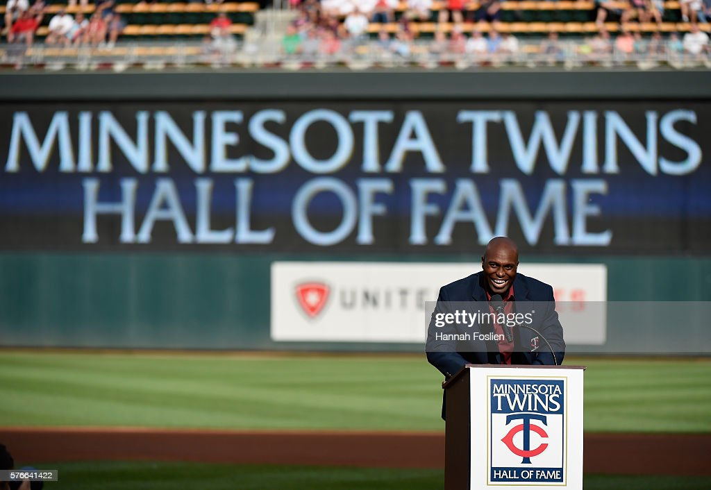 Former Minnesota Twins player Torii Hunter speaks as he is inducted into the Minnesota Twins Hall of Fame in a ceremony before the game between the Minnesota Twins and the Cleveland Indians of the game on July 16, 2016 at Target Field in Minneapolis, Minnesota.