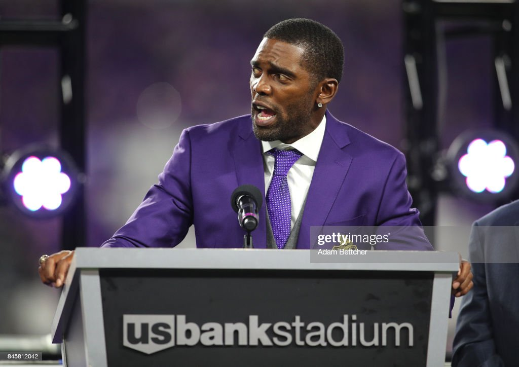 Former Minnesota Viking Randy Moss is inducted in the Vikings Ring of Honor during half time of the game against the New Orleans Saints on September 11, 2017 at U.S. Bank Stadium in Minneapolis, Minnesota.