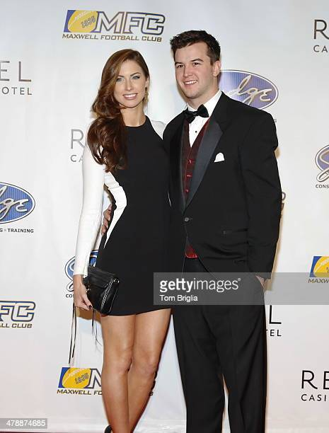 Former Miss Alabama Katherine Webb and University of Alabama Quarterback AJ McCarron attend the 77th annual Maxwell Awards at Revel Casino on Friday...