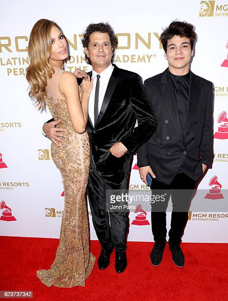 Former Miss Colombia Ariadna Gutierrez recording artists Carlos Vives and Sebastian Villalobos attend the 2016 Person of the Year honoring Marc...