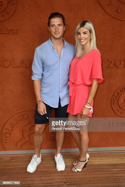 Former miss france Alexandra Rosenfeld and boyfriend Tom Lamb attend the 2018 French Open Day Eight at Roland Garros on June 3 2018 in Paris France