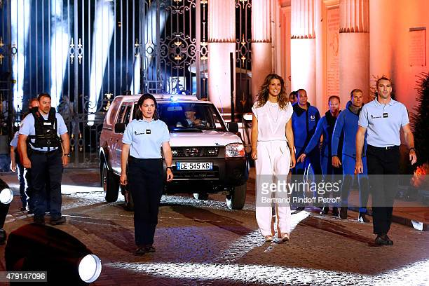 Former Miss France Laury Thilleman and Members of the Fluvial Brigade attend the 'Une Nuit avec la Police et la Gendarmerie' France 2 TV Show Held at...
