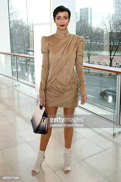 Former Miss France Sonia Rolland attends the Stephane Rolland show as part of Paris Fashion Week Haute Couture Spring/Summer 2015 on January 27 2015...